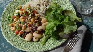 En grön tallrik med bönor, ris och sallad