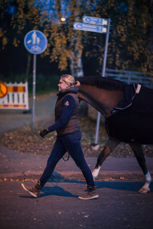 Hoitaja kävelyttää hevostae