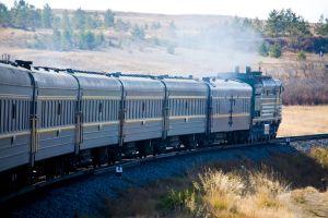 Ett tåg på transsibiriska järnvägen.