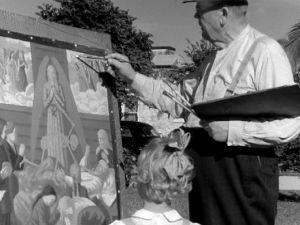 Taidemaalari Juho Rissanen maalaa Miamissa (1947).