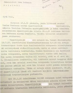 Valmetin pääjohtajan vastaus Kekkoselle maanviljelijän valituksesta
