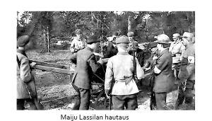 Kirjailija Algoth Untolan (salanimiä mm. Maiju Lassila) hautaus hänen teloittamisensa jälkeen keväällä 1918 Santahaminassa.