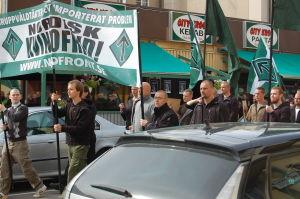 Svenska Motståndsrörelsen demonstrerar i Bollnäs, Sverige. Också Finska Motståndsrörelsen deltar