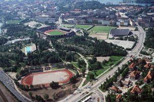 Flygbild över Olympiastadion, Simstadion och Djurgårdens sportplan