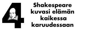 """Teksti, jossa lukee """"Shakespeare kuvasi elämän kaikessa karuudessaan."""""""