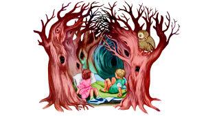 Piirroskuvitusta hylätyistä lapsista pelottavassa metsässä