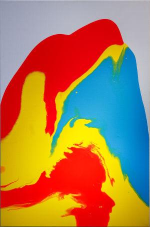 Målning i blått, gult och rött.