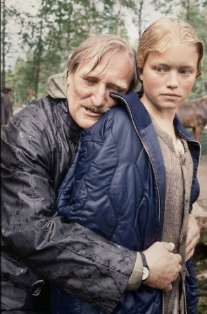 Åke Lindman och Ulrika Hansson (Britta) vid filmningen av Din vredes dag, 1991