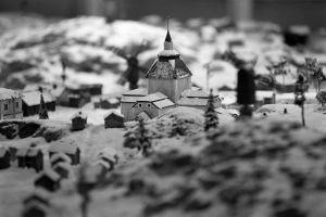 Detalj (kyrka) från en miniatyrmodell av Helsingfors anno 1739-1742, 1991