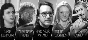 """Suomen komppi: Janne Louhivuori, Tapani """"Nappi"""" Ikonen, Heikki """"Häkä"""" Virtanen, Juha Björninen ja Heikki Laurila"""