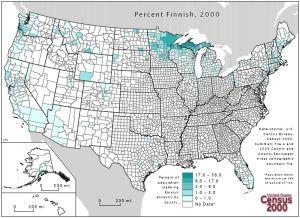 En karta som visar var i USA de finländska emigranterna främat bosatte sig