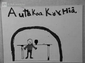 Köyhyysleikin innoittama piirros Pirkkalan peruskoulussa (1973).