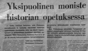 Ote sanomalehtijutusta (1975).
