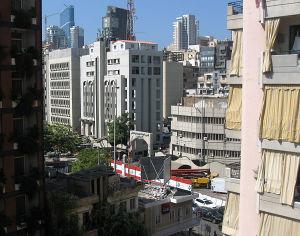 Beirutin keskustaa, jossa salaisen poliisin kortteli