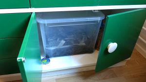 Matokompostori keittiön kaapissa.
