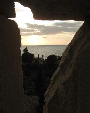 byblosin raunioilta näkymä merelle