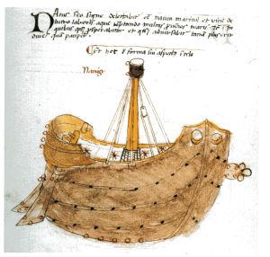 Teckning av skeppet Argo på väg till Kolchis.