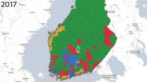 Resultatet i kommunalvalet i södra Finland 2017