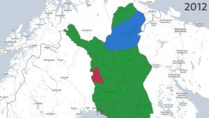 Resultatet i kommunalvalet i norra Finland 2012