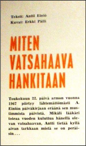Antti Einiön jutun otsikko Miten vatsahaava hankitaan Iskelmä-lehdessä.