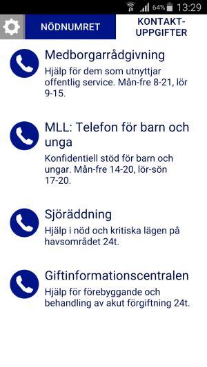 Skärmdump på information om olika nödnummer från 112 applikationen.