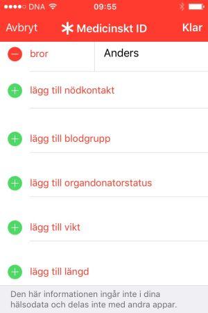 Skärmdump på Medicinskt ID från en iPhone.