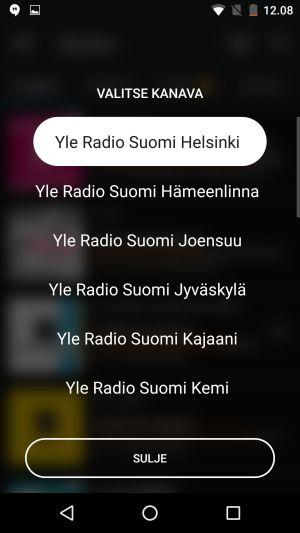 Areenan radiosoittimen alueradiovalinta
