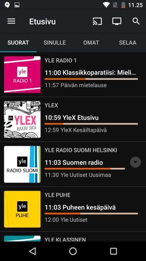 Areenan suorien radiolähetysten valintanäkymä