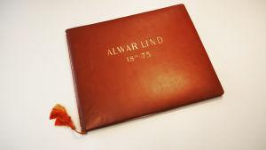 Arvid Lindin veljelleen Alwarille teettämä onnittelukirja.