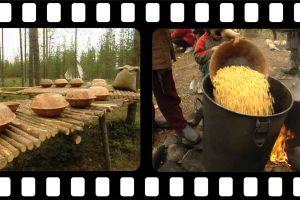 Ruoan valmistelua leirissä