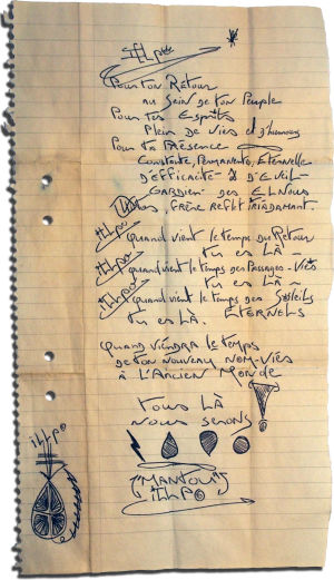 Ilpolle leirillä annettu ranskankielinen kirje