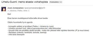 Urheilu-Suomi, J. P. Pulkkisen ensimmäinen muistio worshopista