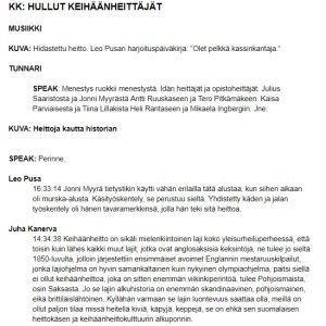 Urheilu-Suomi -sarjan käsikirjoituksesta ote