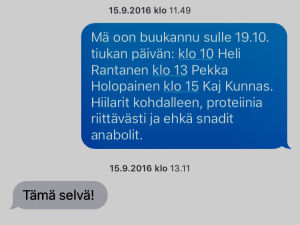 Urheilu-Suomi tv-sarjan tiimin tekstiviesti