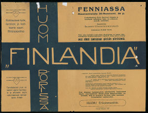 Mykkäelokuvan Finlandia (1922) mainos