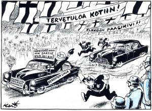 Kari Suomalaisen pilapiirros Urho Kekkosen vaalit 1956 kampanjoinnista.