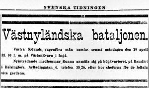Annons i Svenska Tidningen i april 1918 om vapenföra män till Västnyländska bataljonen i Västankvarn i Ingå.