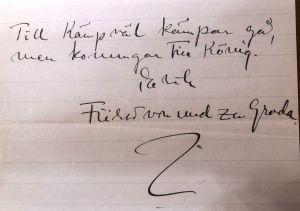 Erik Grotenfelts anteckning i brev till Runar Schildt, början av 1910-talet.