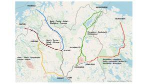 Karta över Ishavsbanans alternativa rutter i Sápmi.