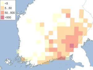 Karta över ryska medborgares fastighetsköp i Finland 1999-2017