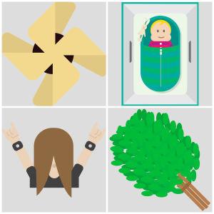 Emoijer som föreställer en karelsk pirog, en heavyduggare, en moderskapsförpackning och en bastukvast.