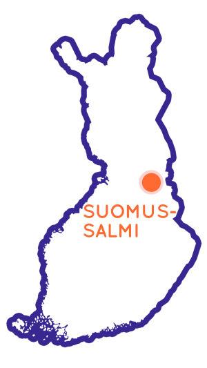 Finlands karta som visar Suomussalmis position.