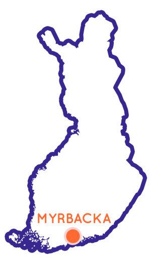 Finlands karta som visar Myrbackas position.