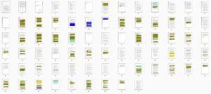 Översikt av Huhtasaaris gradu med kopierade textstycken färglagda