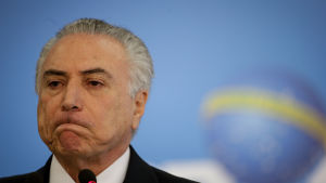 President Michel Temer anklagas också för att vara inblandad i den enorma muthärvan kirng oljejätten Petrobras. Vicepresidenten Temer är tillfälig president på grund av riksrättsprocessen mot president Dilma Rousseff