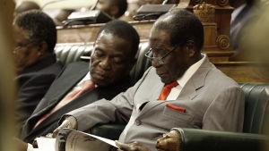 Vicepresident Emmerson Mnangagwa (till vänster) tillsammans med president Mugabe i parlamentet i Harare den 8 december 2016.