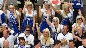 Finländska fans i ishockey-VM i Danmark.