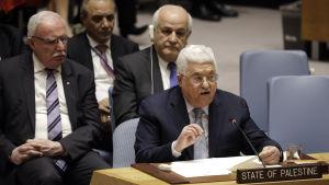 Mahmoud Abbas talar inför FN:s säkerhetsråd.