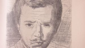"""""""Moi"""" - självporträtt av Hjalmar Söderberg från 1890, då han var 21 år . Dottern Dora hade teckningen inramad i sin loge på Dramaten."""