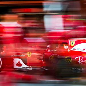 Kimi Räikkönens Ferraribil, suddig.